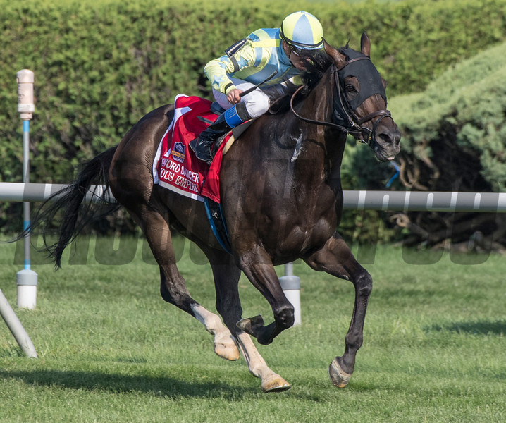 Glorious Empire with jockey Julien Leparoux put away the field and won the 44th running of the 1 1/2 mile Sword Dancer at the Saratoga Race Course Saturday Aug. 25, 2018 in Saratoga Springs, N.Y.   Photo by Skip Dickstein