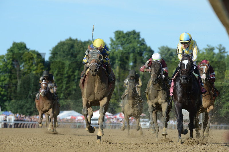 Sombeyay wins the Sanford Stakes at Saratoga Saturday, July 21, 2018. Photo: Coglianese Photos