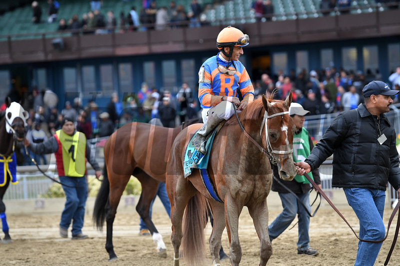 Vino Rosso, John Velazquez, Wood Memorial Stakes presented by NYRA Bets, G2, Aqueduct Racetrack, April 7 2018<br /> Coglianese Photos/Joe Labozzetta