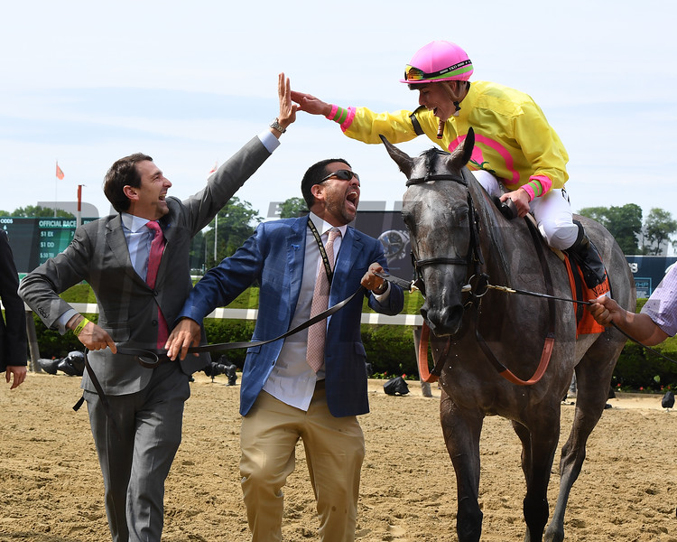 A Raving Beauty wins 2018 Just a Game Stakes under jockey Irad Ortiz, Jr. at Belmont Park June 9, 2018. Photo: Coglianese Photos/Susie Raisher