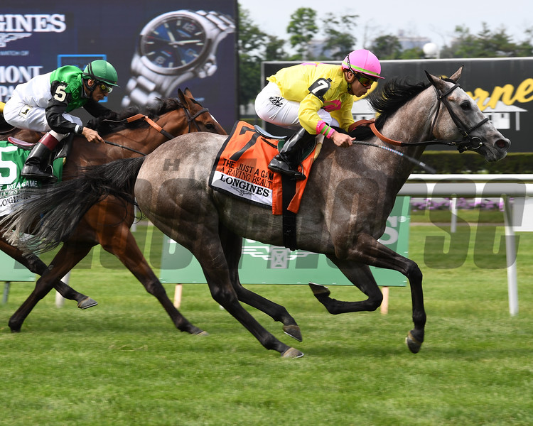 A Raving Beauty wins 2018 Just a Game Stakes under jockey Irad Ortiz, Jr. at Belmont Park June 9, 2018. Photo: Coglianese Photos