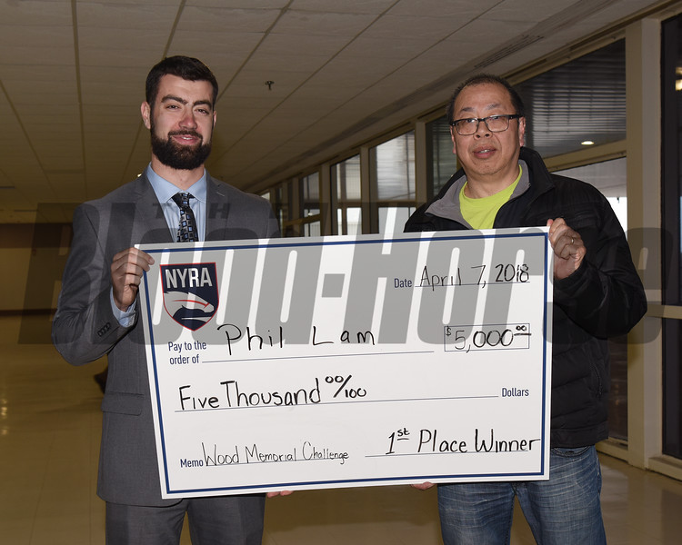 Phil Lam, first place, Wood Memorial Challenge, $5000, check presentation, NYRA, Aqueduct Racetrack, April 7 2018