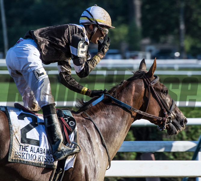 Eskimo Kisses with jockey Jose Ortiz wins the 138th running of The Alabama at the Saratoga Race Course Aug. 18, 2018 in Saratoga Springs, N.Y.  Photo by Skip Dickstein