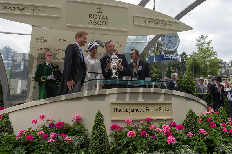 Without Parole, Frankie Dettori win the G1 St James's Palace Stakes, Royal Ascot, Ascot Race Course, Ascot, UK, 6-19-18, Photo by Mathea Kelley, Trophy Presentation, Prince Harry, Princess Meghan, John and Tayna Gunther