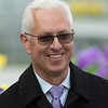 Trainer Todd Pletcher wins 4 stakes two of which were grade 1's including the Wood Memorial with Vino Rosso at Aqueduct Saturday April 7, 2018 in Ozone Park, N.Y.  Photo by Skip Dickstein