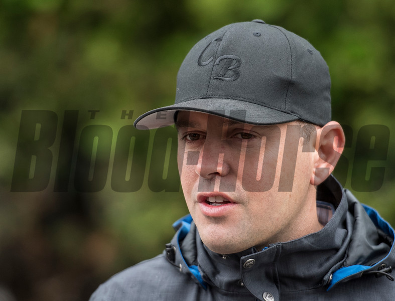 Trainer Chad Brown in the barn area of the Pimlico Race Course Friday May 18, 2018 in Baltimore, MD.  Photo by Skip Dickstein