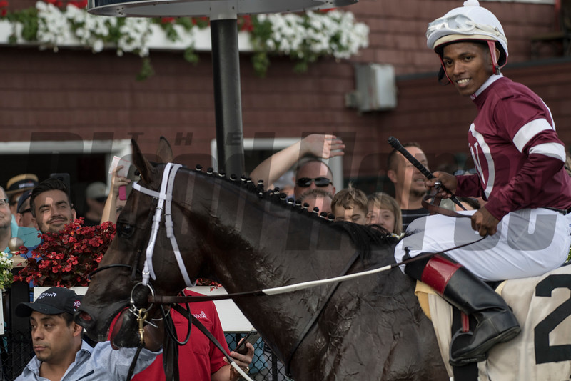 Tenfold with jockey Ricardo Santana Jr. comes up the middle of the track to win the 55th running of The Jim Dandy at the Saratoga Race Course Saturday July 28, 2018 in Saratoga Springs, N.Y.  Photo by Skip Dickstein