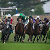The field turning for home in the Longines Churchill Distaff Turf Mile at Churchill Downs on May 5, 2018.