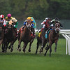 One Go All Go leads in the 2018 Man o' War Stakes, won by Hi Happy (#7, yellow cap).<br /> Coglianese Photos/Robert Mauhar
