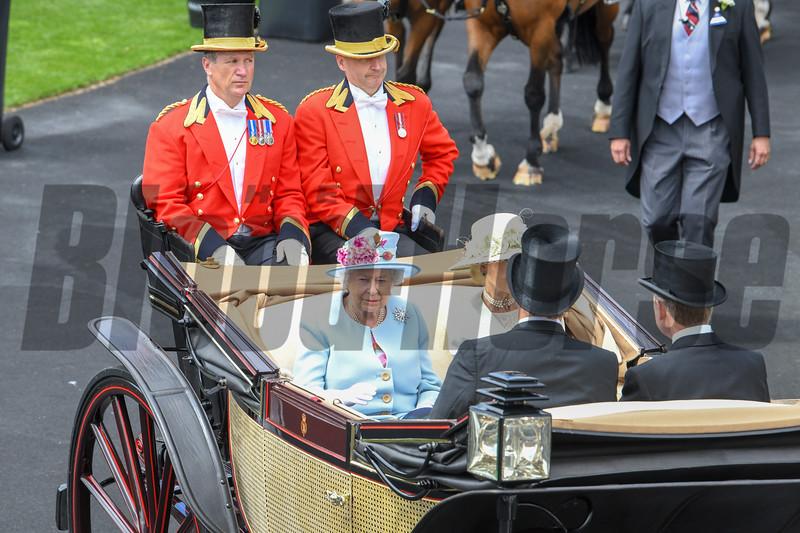 HRH The Queen, Royal Ascot,, Ascot Race Course, Ascot, UK, 6-20-18, Photo by Mathea Kelley