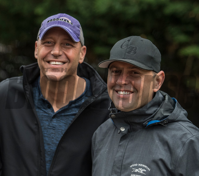 Trainer Chad Brown with Good Magic owner Bob Edwards in the barn area of the Pimlico Race Course Friday May 18, 2018 in Baltimore, MD.  Photo by Skip Dickstein