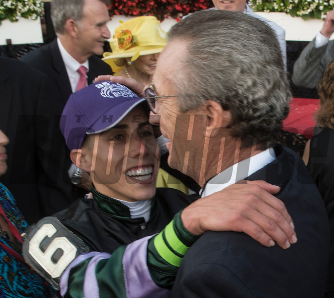 Jockey Irad Ortiz Jr. gives Trainer Rick Violette a hug after Diversify with jockey Irad Ortiz Jr. won the 91st running of The Whitney at Saratoga Race Course Saturday Aug. 3, 2018 in Saratoga Springs, N.Y. <br /> Photo by Skip Dickstein
