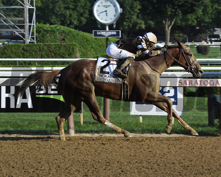Eskimo Kisses wins the Alabama Stakes at Saratoga Saturday, August 18, 2018. Photo: Coglianese Photos/Susie Raisher