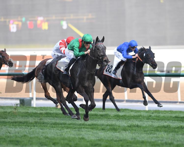 Vaziribad, Christophe Soumillon win the Dubai Gold Cup,  DWC 2018, Meydan Race Course, Dubai, UAE, 3-31-18, photo by Mathea Kelley/Dubai Racing Club
