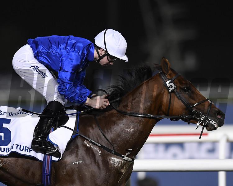 Benbatl, Oisin Murphy, win the Dubai Turf,  DWC 2018, Meydan Race Course, Dubai, UAE, 3-31-18, photo by Mathea Kelley/Dubai Racing Club