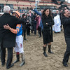 Celebration all around after Vino Rosso  wins the 94th running of The Wood Memorial at Aqueduct Saturday April 7, 2018 in Ozone Park, N.Y.  Photo by Skip Dickstein