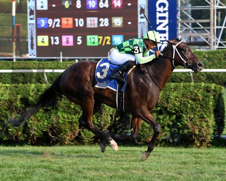 Chanteline wins the Smart N Fancy Stakes at Saratoga Sunday, August 28, 2018. Photo: Coglianese Photos/Susie Raisher