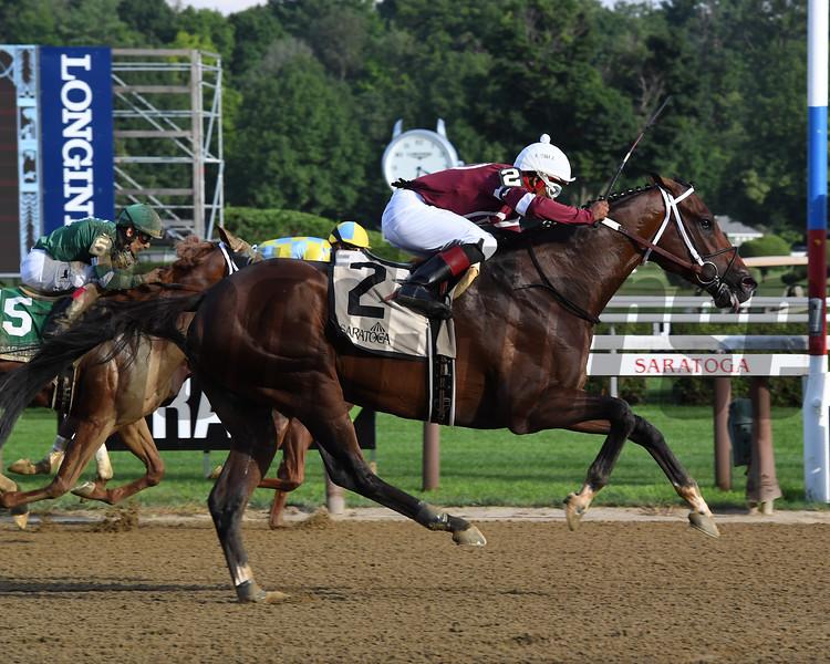 Tenfold wins the Jim Dandy Stakes at Saratoga Saturday, July 28, 2018. Photo: Coglianese Photos/Susie Raisher