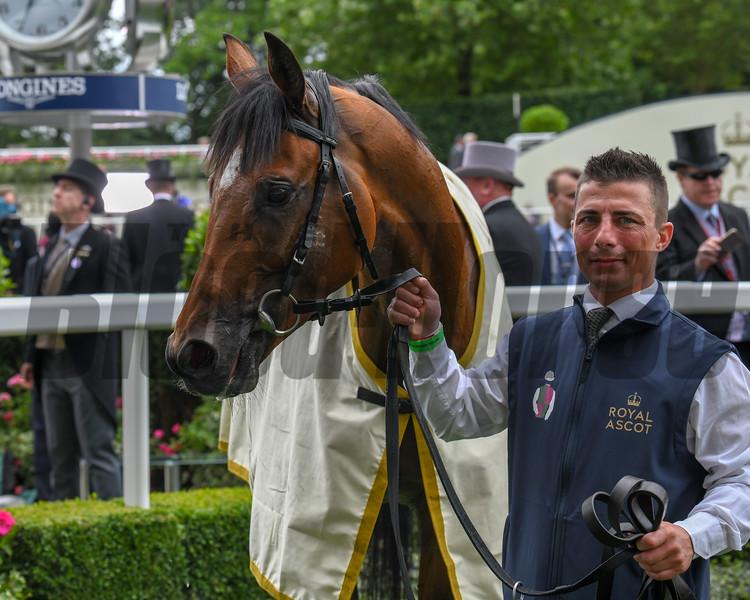 Without Parole, Frankie Dettori win the G1 St James's Palace Stakes, Royal Ascot, Ascot Race Course, Ascot, UK, 6-19-18, Photo by Mathea Kelle