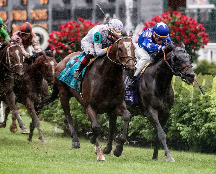 Yoshida With jockey Jose Ortiz aboard wins the 32nd running of The Old Forester Turf Classic at Churchill Downs May 5, 2018 in Louisville, Kentucky.  Photo by Skip Dickstein