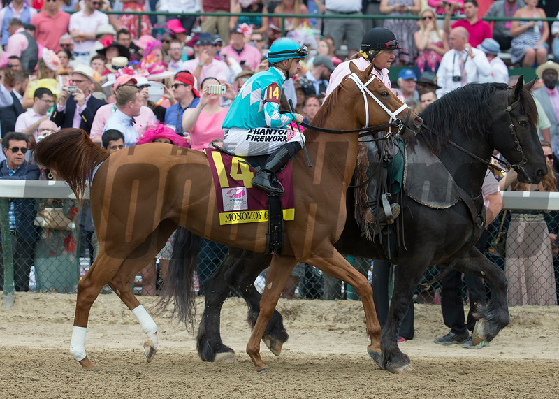 Monomoy Girl and Florent Geroux before <br /> the Longines Kentucky Oaks at Churchill Downs on May 4, 2018.