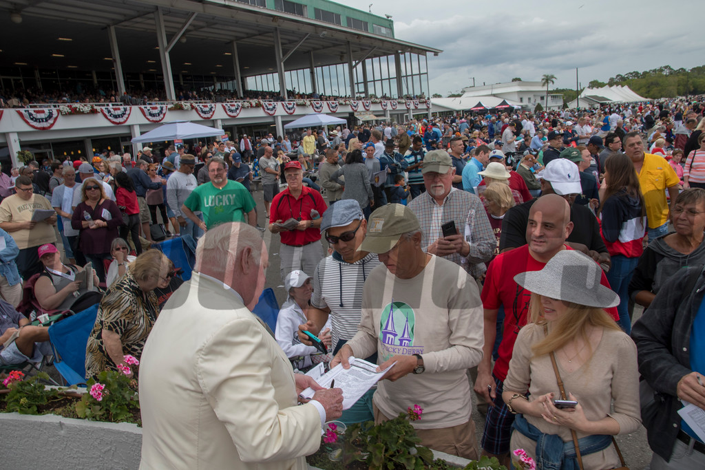 Tom Durkin. signing autograph   Tampa Bay Derby  . @ Tampa Bay Downs. March10 2018<br /> © Joe DiOrio/Winningimages.biz