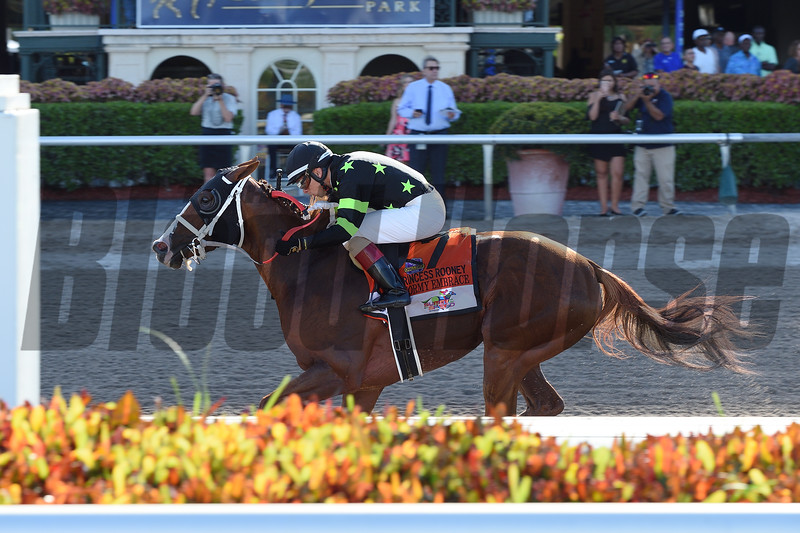 Stormy Embrace wins the Princess Rooney Stakes Saturday, June 30, 2018 at Gulfstream Park. Photos: Coglianese Photos/Lauren King