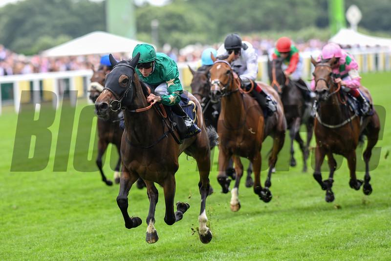 Aljazzi, William Buick win the G2 Duke of Cambridge Stakes, Royal Ascot, Ascot Race Course, Ascot, UK, 6-20-18, Photo by Mathea Kelley