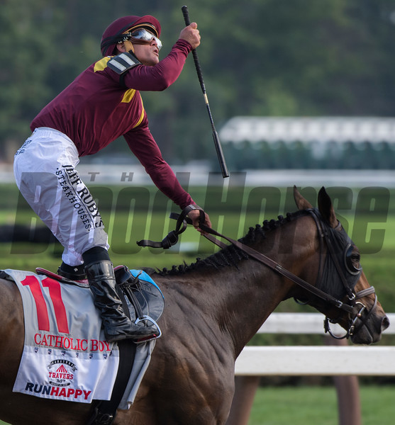 Catholic Boy with jockey Javier Castellano in the saddle won the 149th running of The Runhappy Travers Stakes at the Saratoga Race Course Saturday Aug. 25, 2018 in Saratoga Springs, N.Y.   Photo by Skip Dickstein