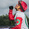 Jockey Javier Castellano pumps his fist toward the sky after he guided Your Love to the win in the 6th running of The Shine Again stakes at the Saratoga Race Course Wednesday Aug. 1, 2018 in Saratoga Springs. $100,000 Photo by Skip Dickstein