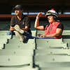 Barn foreman and exercise rider David Meah with his wife Anna watch workouts at Santa Anita. Photo: Wally Skalij