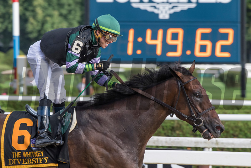 Diversify with jockey Irad Ortiz Jr. guns from the gate to win the 91st running of The Whitney at Saratoga Race Course Saturday Aug. 3, 2018 in Saratoga Springs, N.Y. <br /> Photo by Skip Dickstein