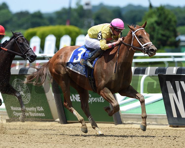 Monomoy Girl wins 2018 Acorn Stakes at Belmont Park June 9, 2018. Photos: Coglianese Photos/Zoe Metz