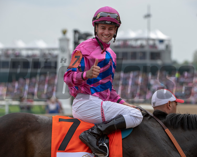 Flavien Prat celebrates  on Toinette after winning The Edgewood (G3) at Churchill Downs.