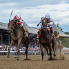 Separationofpowers with jockey Jose Ortiz duels with Mia Mischief ridden by Ricardo Santana Jr. to win the 93rd running of The Longines Test Stakes Saturday Aug. 4, 2018 in Saratoga Springs, N.Y.(Skip Dickstein