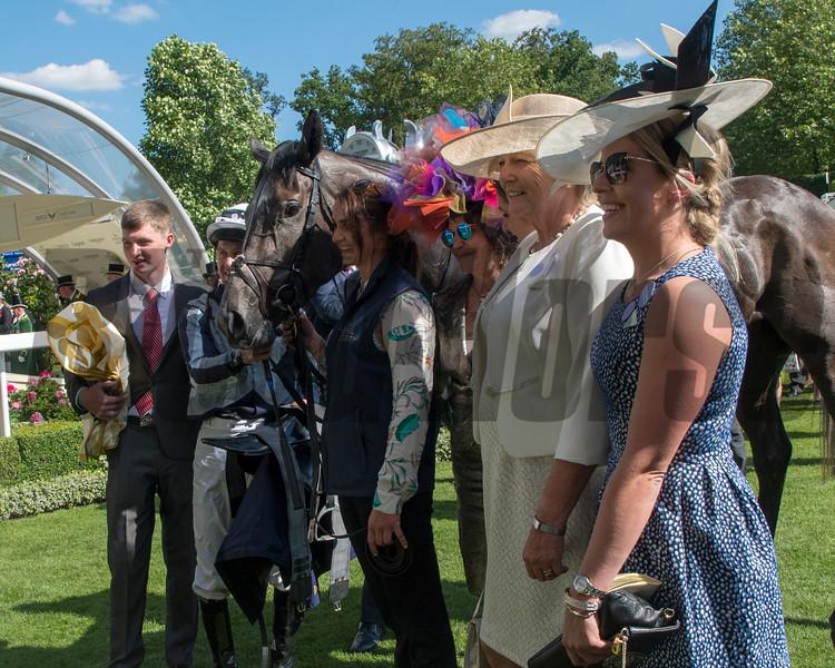 Alpha Centauri; Colm O'Donoghue; win the G1 Coronation Stakes;, Jessica Harrington, Maria Niarchos,  Royal Ascot; Ascot Race Course; Ascot; UK; 6-22-18; Photo by Mathea Kelley