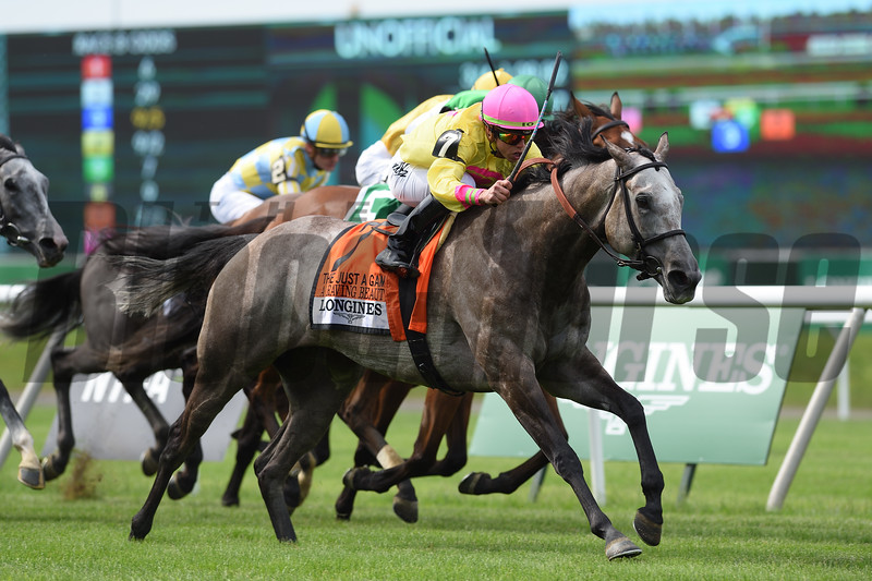 A Raving Beauty wins 2018 Just a Game Stakes under jockey Irad Ortiz, Jr. at Belmont Park June 9, 2018. Photo: Coglianese Photos/Zoe Metz