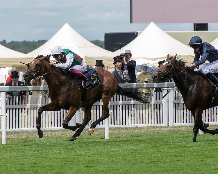 Without Parole, jockey Frankie Dettori up, win the G1 St James's Palace Stakes, Royal Ascot, Ascot UK, June 19, 2018. Photo: Mathea Kelley