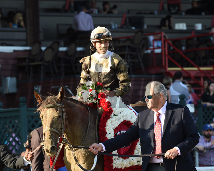 Eskimo Kisses wins the Alabama Stakes at Saratoga Saturday, August 18, 2018. Photo: Coglianese Photos/Chelsea Durand