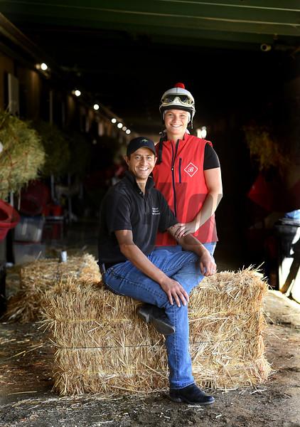 Barn foreman and exrercise rider David Meah with his wife Anna at the barn of Richard Baltas at Santa Anita.