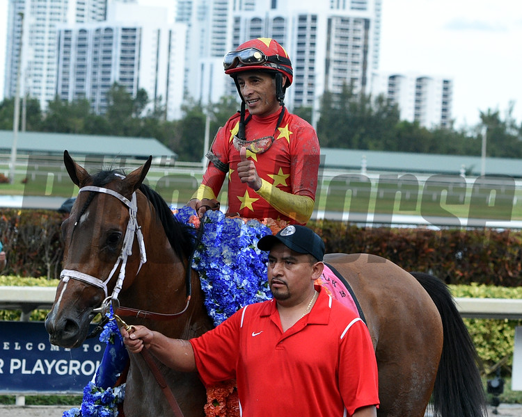 Audible; John Velazquez; Xpressbet Florida Derby; G1; Gulfstream Park; March 31 2018<br /> Dave W. Harmon Photo