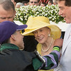 Jockey Irad Ortiz Jr. hugs Mary Lou Whitney after Diversify wins the 91st running of The Whitney at Saratoga Race Course Saturday Aug. 3, 2018 in Saratoga Springs, N.Y. <br /> Photo by Skip Dickstein