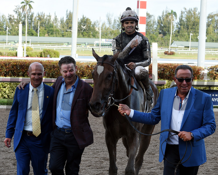 Coach Rocks, Luis Saez, Gulfstream Park Oaks, G2, Gulfstream Park, March 31 2018<br /> Dave W. Harmon Photo