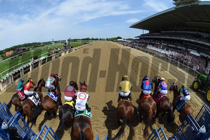 Hoppertunity wins 2018 Brooklyn Invitational Stakes at Belmont Park June 9, 2018. Photo: Coglianese Photo/Adam Mooshian