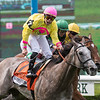 A Raving Beauty with jockey Irad Ortiz Jr. wins the 25th running of The Longines Just A Game (GI) at Belmont Park Saturday June 9, 2018 in Elmont, N.Y.  Photo by Skip Dickstein