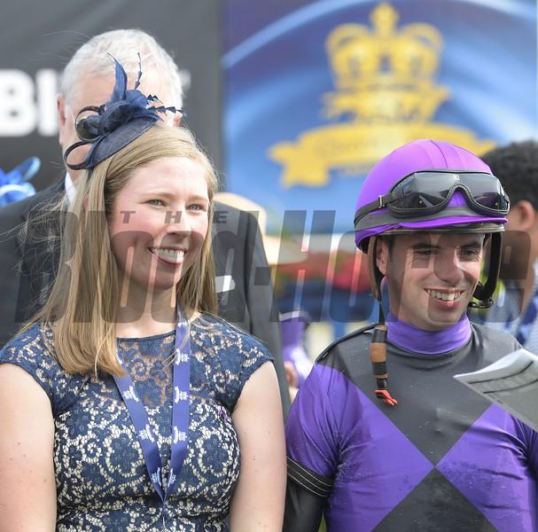 Liz Crow and Florent Geroux - Highlander Stakes at Woodbine Saturday, June 30, 2018. Photo: Anne M. Eberhardt