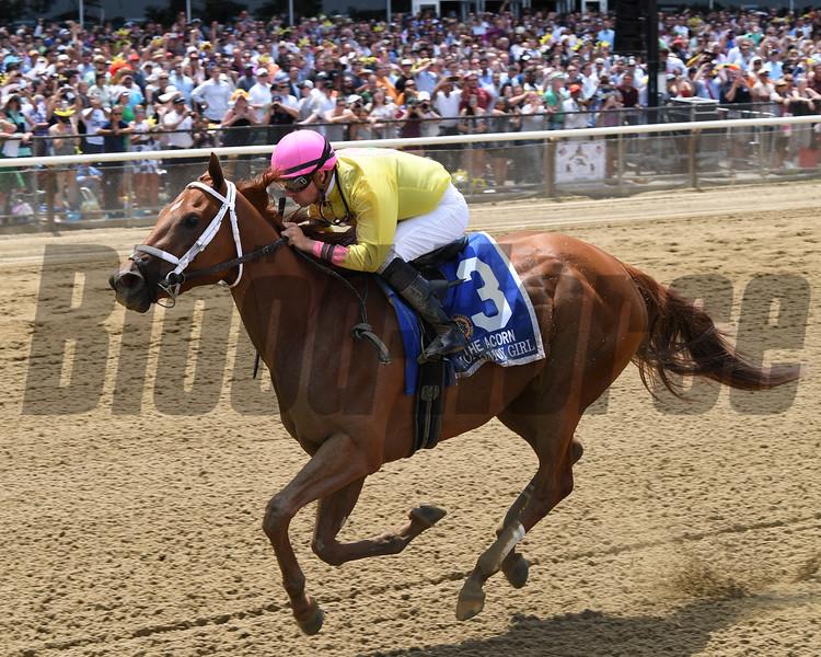 Monomoy Girl wins 2018 Acorn Stakes at Belmont Park June 9, 2018. Photos: Coglianese Photos/Chelsea Durand