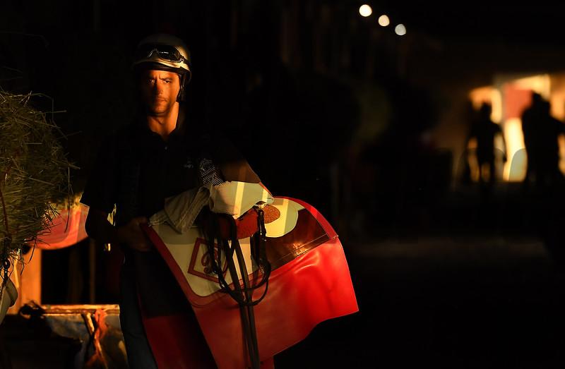 Barn foreman and exercise rider David Meah at the barn of Richard Baltas at Santa Anita. Photo: Wally Skalij
