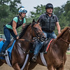 Minit to Stardom with exercise rider Melanie Giddings goes out for a gallop and a visit to the starting gate on the main track at the Saratoga Race Course this morning Aug. 3, 2018 in preparation for Saturday's Test Stakes in Saratoga Springs, N.Y. Photo by Skip Dickstein