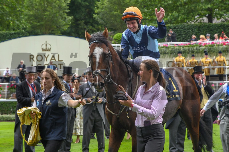Accidental Agent, Charles Bishiop Jockey, win the G1 Queen Anne Stakes, Royal Ascot, Ascot UK, 6/19/18, photo by Mathea Kelley